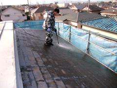 屋根の高圧ジェット洗浄・塗装工事レンガ・ブロック塀・フェンスの一部取り替え